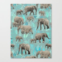 Sweet Elephants in Soft Teal Canvas Print