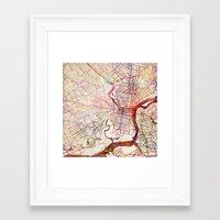 philadelphia Framed Art Prints featuring Philadelphia by MapMapMaps.Watercolors