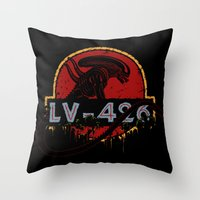 lv Throw Pillows featuring LV-426 by Crumblin' Cookie