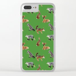 Backyard Critters in Green Clear iPhone Case