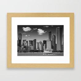 CHICAGO Skyline | Monochrome Framed Art Print
