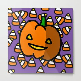 Halloween Pumpkin Candy Corn | Veronica Nagorny Metal Print
