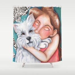 Sweet Coconut Original Art Schnauzer and girl Portrait Shower Curtain
