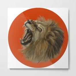 Round Lion Metal Print