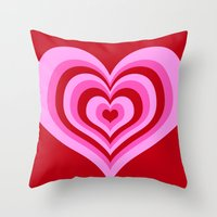 powerpuff girls Throw Pillows featuring powerpuff hearts by tukylampkin