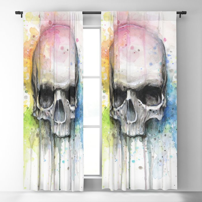 Skull Rainbow Watercolor Blackout Curtain