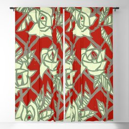 Red Rose Trellis Blackout Curtain