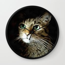Tabby Cat With Green Eyes Isolated On Black Wall Clock