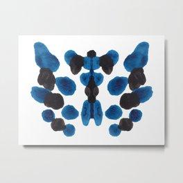 Blue Turquoise & Black Ink Blot Colorful Pattern Metal Print