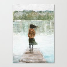 Girl on the pier Canvas Print