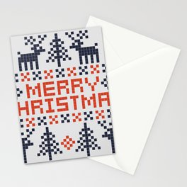Pixel Merry Christmas - Deers and Trees - Red and Dark Blue Stationery Cards