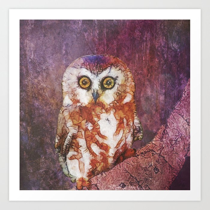 abstract owl in the night Art Print
