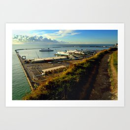 Dover Docks from the White Cliffs Art Print