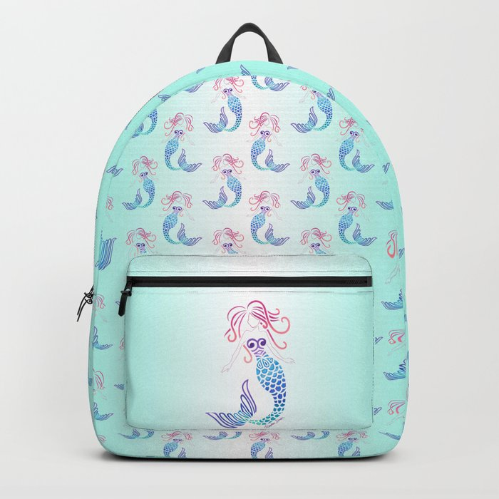 Tribal Mermaid with Ombre Turquoise Background Backpack