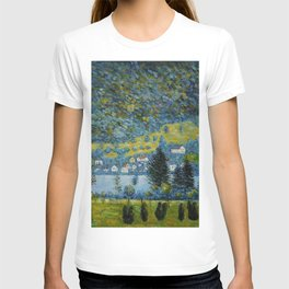 Variegated Blue Alpine Village 'Little Venice' on Lake Attersee in Austrian Alps by Gustav Klimt T-shirt