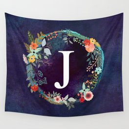 Personalized Monogram Initial Letter J Floral Wreath Artwork Wall Tapestry