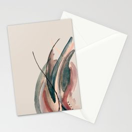 Slow Burn: a pretty, minimal, abstract mixed media piece using watercolor and ink Stationery Cards