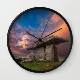 Poulnabrone Dolmen Sunset Wall Clock