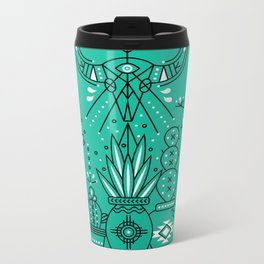 Santa Fe Garden – Turquoise & Black Metal Travel Mug