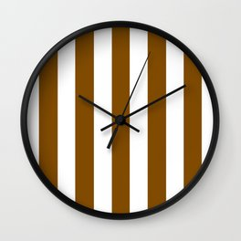 Dark bronze brown - solid color - white vertical lines pattern Wall Clock