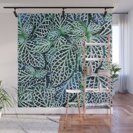 Tropical Leaves Fittonia Nerve Plant #watercolor #decor #society6 #pattern Wall Mural