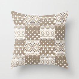 Patchwork seamless geometric folk pattern Throw Pillow
