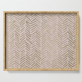 Bohemian, Herringbone, Abstract, Pattern, Blush Pink and Gold Serving Tray