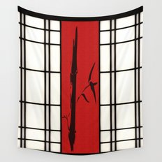 Shoji with bamboo ink painting Wall Tapestry