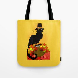 Thanksgiving Le Chat Noir With Turkey Pilgrim Tote Bag