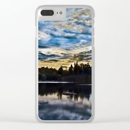 Dramatic Blue Skies over Calm Lake Clear iPhone Case