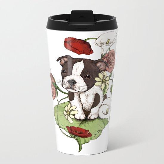 Boston Terrier Puppy Bouquet Metal Travel Mug