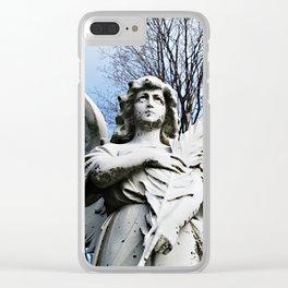 Angel Looking Skyward Clear iPhone Case