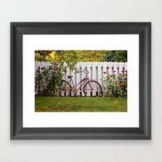 Bike with Fence & Flowers Framed Art Print