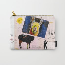 Llama Just Killed A Man mixed media collage llama art by Michel Keck Carry-All Pouch