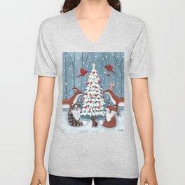 Woodland Christmas Tree Unisex V-Neck