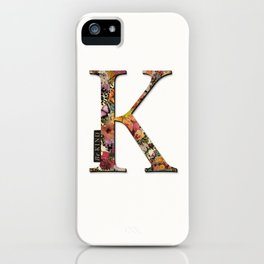 Floral letter K - Be KIND label text, Lo Lah Studio iPhone Case