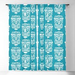 Tiki Pattern Turquoise Blackout Curtain