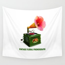 ORGANIC INVENTIONS SERIES: Vintage Floral Phonograph Wall Tapestry