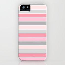 Blush & Gray Stripes iPhone Case