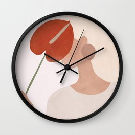 Lady with a Red Leaf Wall Clock