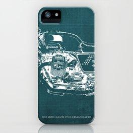 2010 Moto Guzzi V7 Clubman Racer green blueprint iPhone Case
