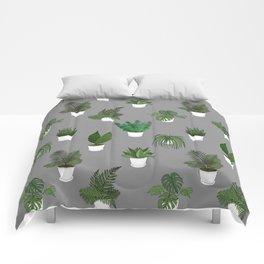 Houseplants Illustration (grey background) Comforters