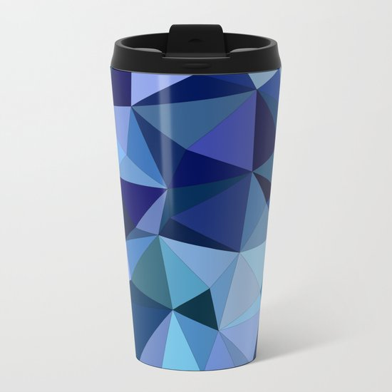 Blue triangles Metal Travel Mug