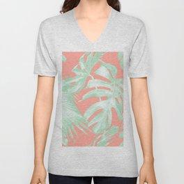 Island Love Coral Pink + Light Green Unisex V-Neck
