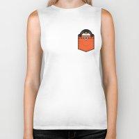 pocket Biker Tanks featuring Pocket Penguin by Steven Toang