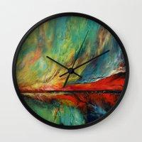 aurora Wall Clocks featuring Aurora by Michael Creese