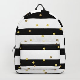 Christmas White and Black and Christmas Golden confetti Backpack