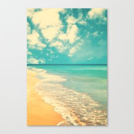 Waves of the sea (retro beach and blue sky) Canvas Print