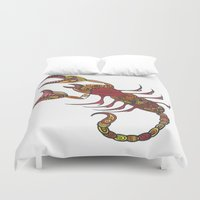 tatoo Duvet Covers featuring Tatoo Scorpion by PepperDsArt