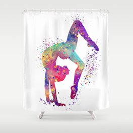 Girl Gymnastics Tumbling Watercolor Shower Curtain